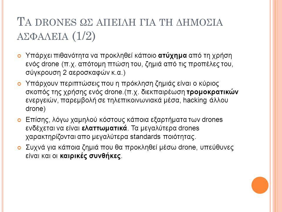 Τ Α DRONES ΩΣ ΑΠΕΙΛΗ ΓΙΑ ΤΗ ΔΗΜΟΣΙΑ ΑΣΦΑΛΕΙΑ (1/2) Υπάρχει πιθανότητα να προκληθεί κάποιο ατύχημα από τη χρήση ενός drone (π.χ. απότομη πτώση του, ζημ