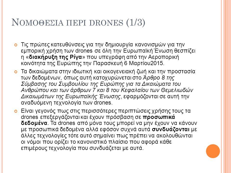 Ν ΟΜΟΘΕΣΙΑ ΠΕΡΙ DRONES (1/3) Τις πρώτες κατευθύνσεις για την δημιουργία κανονισμών για την εμπορική χρήση των drones σε όλη την Ευρωπαϊκή Ένωση θεσπίζει η «διακήρυξη της Ρίγα» που υπεγράφη από την Αεροπορική κοινότητα της Ευρώπης την Παρασκευή 6 Μαρτίου2015.