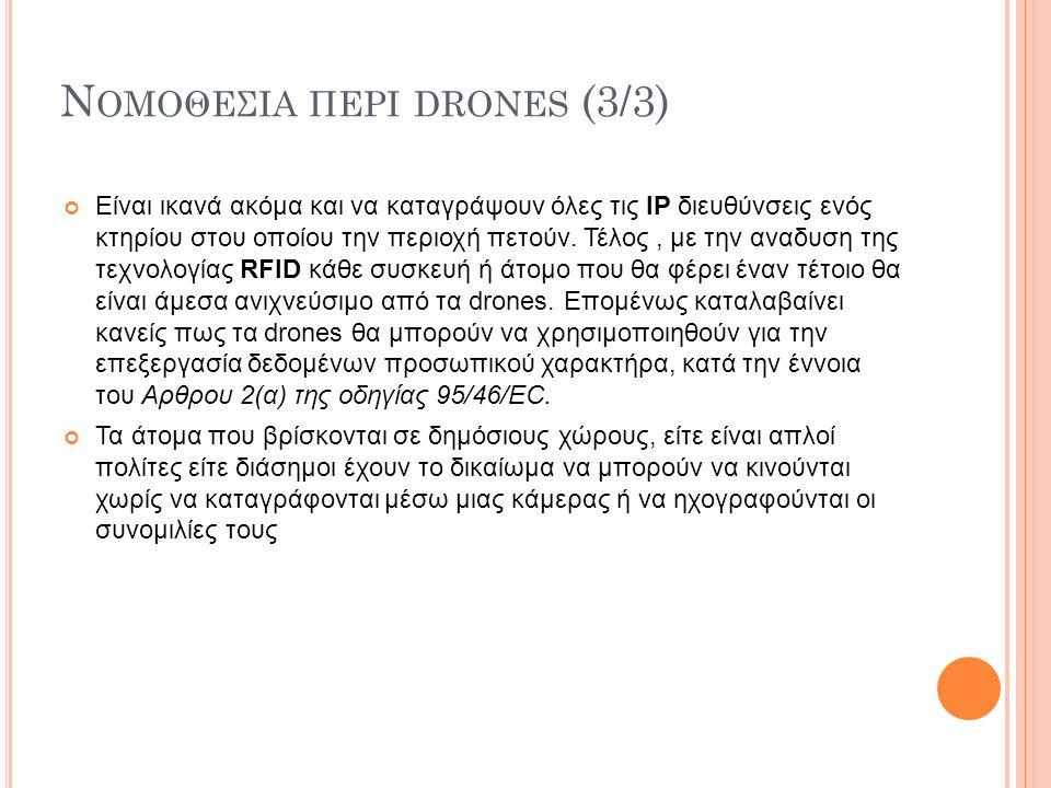 Ν ΟΜΟΘΕΣΙΑ ΠΕΡΙ DRONES (3/3) Είναι ικανά ακόμα και να καταγράψουν όλες τις ΙΡ διευθύνσεις ενός κτηρίου στου οποίου την περιοχή πετούν. Τέλος, με την α
