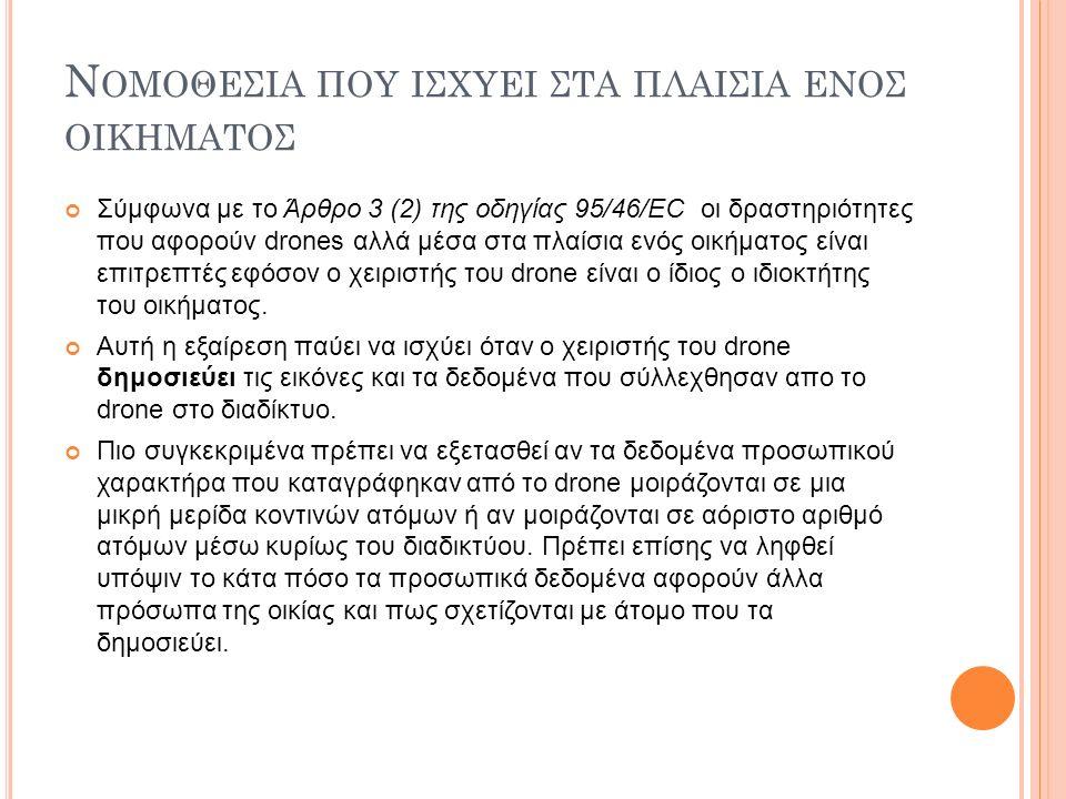 Ν ΟΜΟΘΕΣΙΑ ΠΟΥ ΙΣΧΥΕΙ ΣΤΑ ΠΛΑΙΣΙΑ ΕΝΟΣ ΟΙΚΗΜΑΤΟΣ Σύμφωνα με το Άρθρο 3 (2) της οδηγίας 95/46/EC οι δραστηριότητες που αφορούν drones αλλά μέσα στα πλαίσια ενός οικήματος είναι επιτρεπτές εφόσον ο χειριστής του drone είναι ο ίδιος ο ιδιοκτήτης του οικήματος.