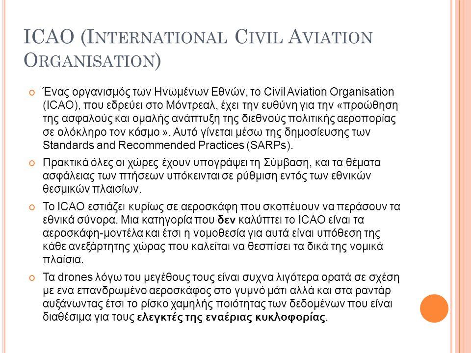 ICAO (I NTERNATIONAL C IVIL A VIATION O RGANISATION ) Ένας οργανισμός των Ηνωμένων Εθνών, το Civil Aviation Organisation (ICAO), που εδρεύει στο Μόντρεαλ, έχει την ευθύνη για την «προώθηση της ασφαλούς και ομαλής ανάπτυξη της διεθνούς πολιτικής αεροπορίας σε ολόκληρο τον κόσμο ».