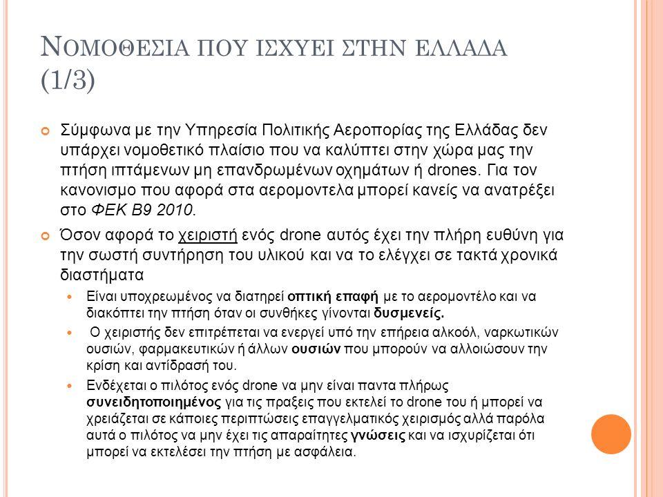 Ν ΟΜΟΘΕΣΙΑ ΠΟΥ ΙΣΧΥΕΙ ΣΤΗΝ ΕΛΛΑΔΑ (1/3) Σύμφωνα με την Υπηρεσία Πολιτικής Αεροπορίας της Ελλάδας δεν υπάρχει νομοθετικό πλαίσιο που να καλύπτει στην χώρα μας την πτήση ιπτάμενων μη επανδρωμένων οχημάτων ή drones.