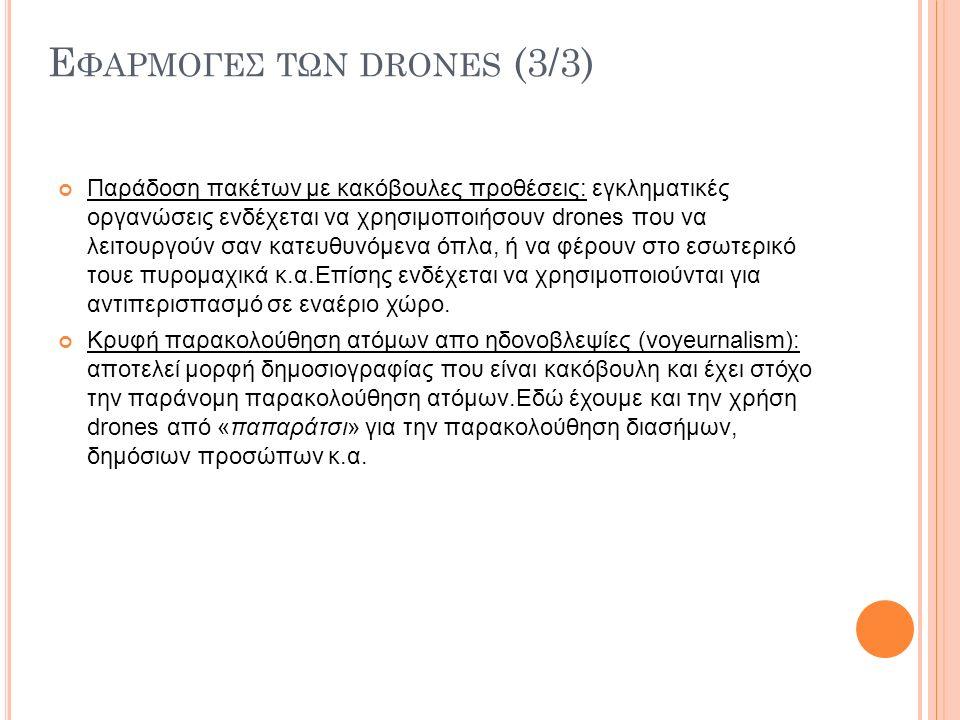 Ε ΦΑΡΜΟΓΕΣ ΤΩΝ DRONES (3/3) Παράδοση πακέτων με κακόβουλες προθέσεις: εγκληματικές οργανώσεις ενδέχεται να χρησιμοποιήσουν drones που να λειτουργούν σαν κατευθυνόμενα όπλα, ή να φέρουν στο εσωτερικό τουε πυρομαχικά κ.α.Επίσης ενδέχεται να χρησιμοποιούνται για αντιπερισπασμό σε εναέριο χώρο.