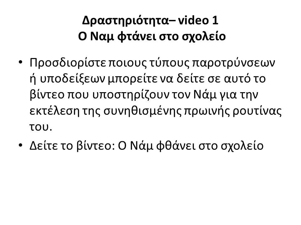 Δραστηριότητα– video 1 Ο Ναμ φτάνει στο σχολείο Προσδιορίστε ποιους τύπους παροτρύνσεων ή υποδείξεων μπορείτε να δείτε σε αυτό το βίντεο που υποστηρίζουν τον Νάμ για την εκτέλεση της συνηθισμένης πρωινής ρουτίνας του.