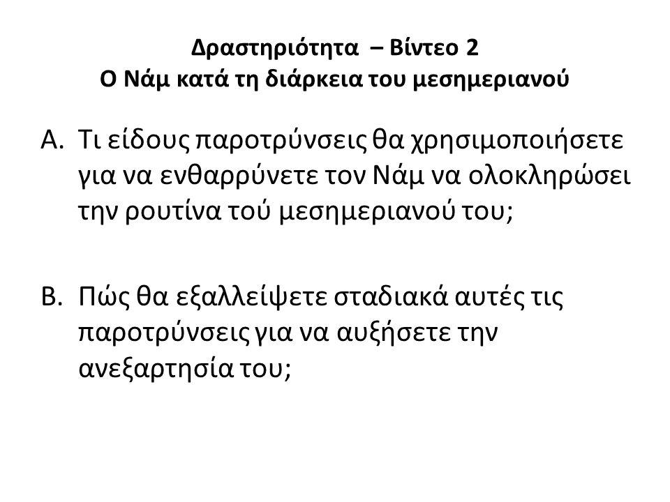 Δραστηριότητα – Βίντεο 2 Ο Νάμ κατά τη διάρκεια του μεσημεριανού A.Τι είδους παροτρύνσεις θα χρησιμοποιήσετε για να ενθαρρύνετε τον Νάμ να ολοκληρώσει την ρουτίνα τού μεσημεριανού του; B.Πώς θα εξαλλείψετε σταδιακά αυτές τις παροτρύνσεις για να αυξήσετε την ανεξαρτησία του;