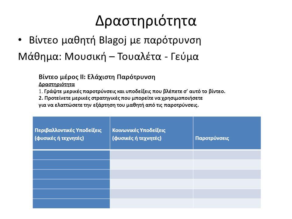 Δραστηριότητα Βίντεο μαθητή Blagoj με παρότρυνση Μάθημα: Μουσική – Τουαλέτα - Γεύμα Περιβαλλοντικές Υποδείξεις (φυσικές ή τεχνητές) Κοινωνικές Υποδείξεις (φυσικές ή τεχνητές) Παροτρύνσεις Βίντεο μέρος ΙΙ: Ελάχιστη Παρότρυνση Δραστηριότητα 1.