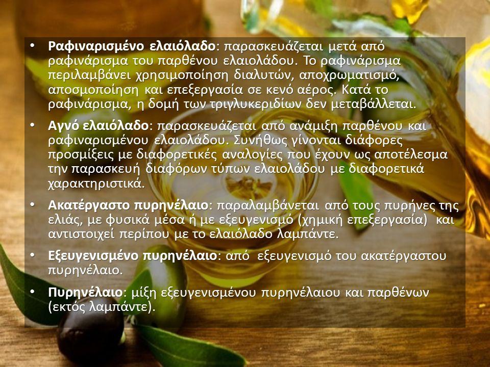 Ραφιναρισμένο ελαιόλαδο: παρασκευάζεται μετά από ραφινάρισμα του παρθένου ελαιολάδου.