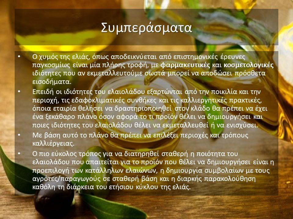 Συμπεράσματα φαρμακευτικές κοσμετολογικές Ο χυμός της ελιάς, όπως αποδεικνύεται από επιστημονικές έρευνες παγκοσμίως είναι μία πλήρης τροφή, με φαρμακευτικές και κοσμετολογικές ιδιότητες που αν εκμεταλλευτούμε σωστά μπορεί να αποδώσει πρόσθετα εισοδήματα.