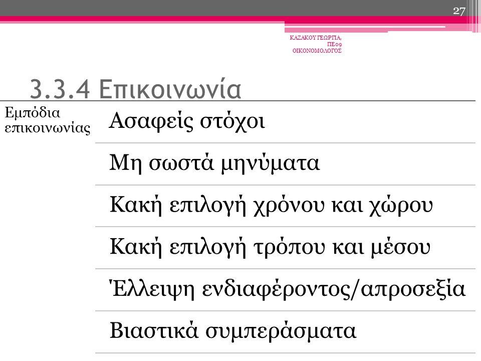 Εμπόδια επικοινωνίας Ασαφείς στόχοι Μη σωστά μηνύματα Κακή επιλογή χρόνου και χώρου Κακή επιλογή τρόπου και μέσου Έλλειψη ενδιαφέροντος/απροσεξία Βιαστικά συμπεράσματα ΚΑΖΑΚΟΥ ΓΕΩΡΓΙΑ, ΠΕ09 ΟΙΚΟΝΟΜΟΛΟΓΟΣ 27 3.3.4 Επικοινωνία