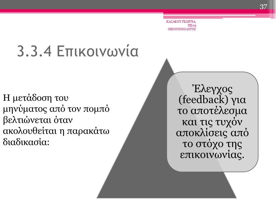 Έλεγχος (feedback) για το αποτέλεσμα και τις τυχόν αποκλίσεις από το στόχο της επικοινωνίας.
