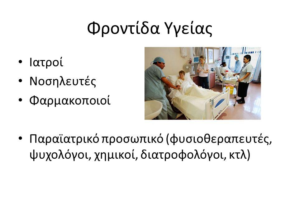 Φροντίδα Υγείας Ιατροί Νοσηλευτές Φαρμακοποιοί Παραϊατρικό προσωπικό (φυσιοθεραπευτές, ψυχολόγοι, χημικοί, διατροφολόγοι, κτλ)