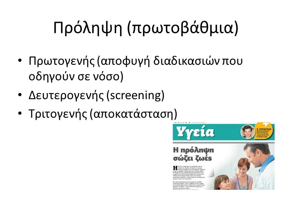 Πρόληψη (πρωτοβάθμια) Πρωτογενής (αποφυγή διαδικασιών που οδηγούν σε νόσο) Δευτερογενής (screening) Τριτογενής (αποκατάσταση)