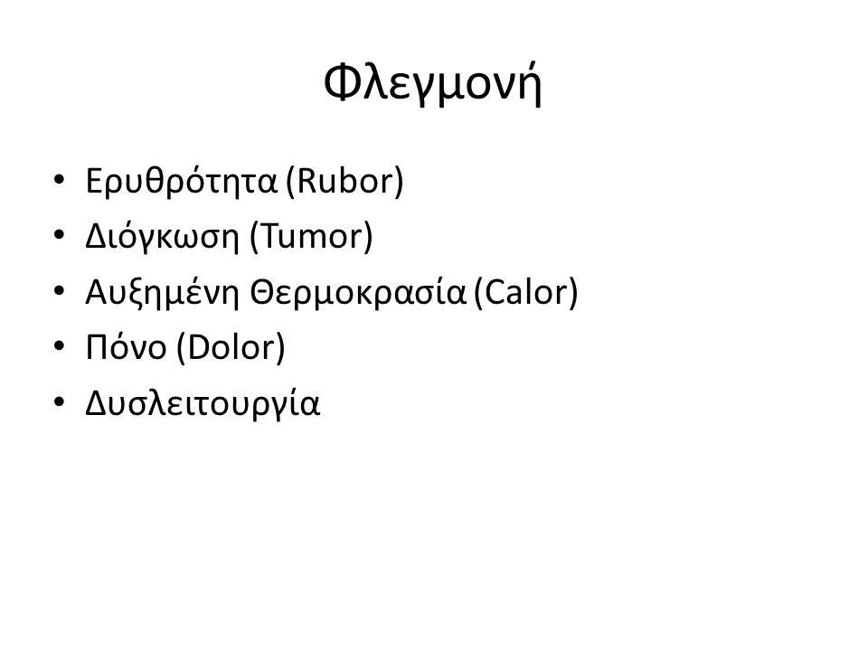 Φλεγμονή Ερυθρότητα (Rubor) Διόγκωση (Tumor) Αυξημένη Θερμοκρασία (Calor) Πόνο (Dolor) Δυσλειτουργία