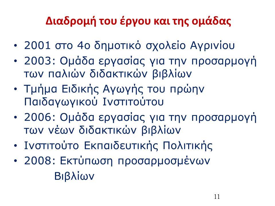Διαδρομή του έργου και της ομάδας 2001 στο 4ο δημοτικό σχολείο Αγρινίου 2003: Ομάδα εργασίας για την προσαρμογή των παλιών διδακτικών βιβλίων Τμήμα Ειδικής Αγωγής του πρώην Παιδαγωγικού Ινστιτούτου 2006: Ομάδα εργασίας για την προσαρμογή των νέων διδακτικών βιβλίων Ινστιτούτο Εκπαιδευτικής Πολιτικής 2008: Εκτύπωση προσαρμοσμένων Βιβλίων 11