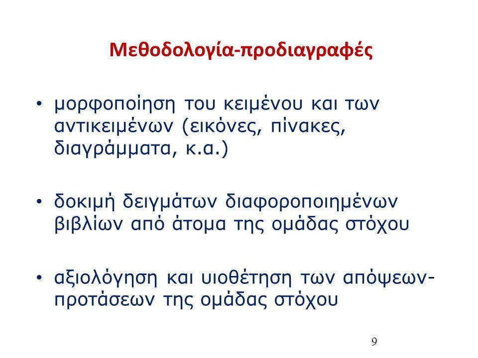 9 Μεθοδολογία-προδιαγραφές μορφοποίηση του κειμένου και των αντικειμένων (εικόνες, πίνακες, διαγράμματα, κ.α.) δοκιμή δειγμάτων διαφοροποιημένων βιβλίων από άτομα της ομάδας στόχου αξιολόγηση και υιοθέτηση των απόψεων- προτάσεων της ομάδας στόχου