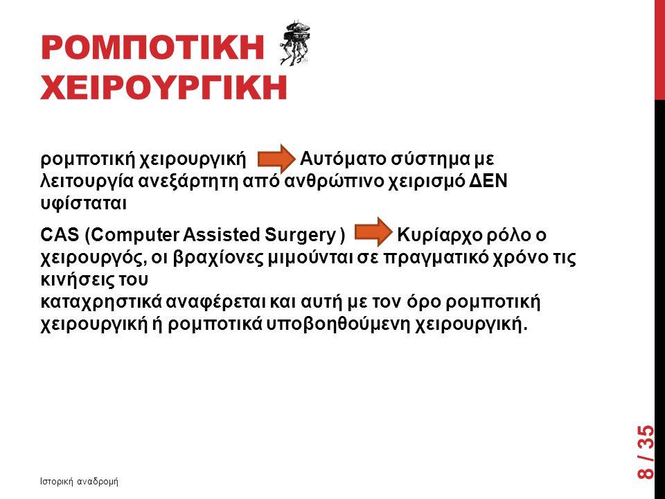 ΡΟΜΠΟΤΙΚΗ ΧΕΙΡΟΥΡΓΙΚΗ ρομποτική χειρουργική Αυτόματο σύστημα με λειτουργία ανεξάρτητη από ανθρώπινο χειρισμό ΔΕΝ υφίσταται CAS (Computer Assisted Surgery ) Κυρίαρχο ρόλο ο χειρουργός, οι βραχίονες μιμούνται σε πραγματικό χρόνο τις κινήσεις του καταχρηστικά αναφέρεται και αυτή με τον όρο ρομποτική χειρουργική ή ρομποτικά υποβοηθούμενη χειρουργική.