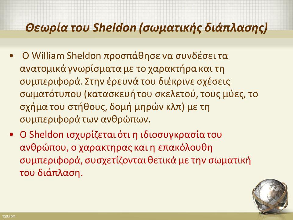 Θεωρία του Sheldon (σωματικής διάπλασης) Ο William Sheldon προσπάθησε να συνδέσει τα ανατομικά γνωρίσματα με το χαρακτήρα και τη συμπεριφορά.