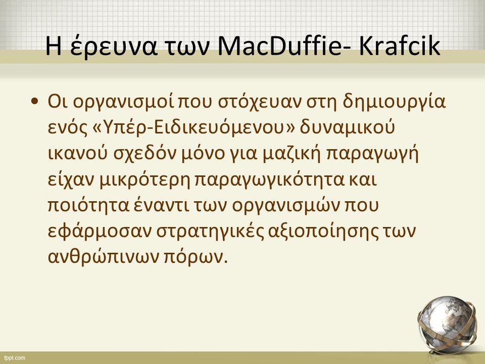 Η έρευνα των MacDuffie- Krafcik Οι οργανισμοί που στόχευαν στη δημιουργία ενός «Υπέρ-Ειδικευόμενου» δυναμικού ικανού σχεδόν μόνο για μαζική παραγωγή είχαν μικρότερη παραγωγικότητα και ποιότητα έναντι των οργανισμών που εφάρμοσαν στρατηγικές αξιοποίησης των ανθρώπινων πόρων.