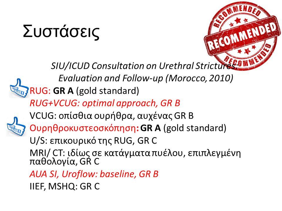 Συστάσεις SIU/ICUD Consultation on Urethral Strictures: Evaluation and Follow-up (Morocco, 2010) RUG: GR A (gold standard) RUG+VCUG: optimal approach, GR B VCUG: οπίσθια ουρήθρα, αυχένας GR B Ουρηθροκυστεοσκόπηση: GR A (gold standard) U/S: επικουρικό της RUG, GR C MRI/ CT: ιδίως σε κατάγματα πυέλου, επιπλεγμένη παθολογία, GR C AUA SI, Uroflow: baseline, GR B IIEF, MSHQ: GR C