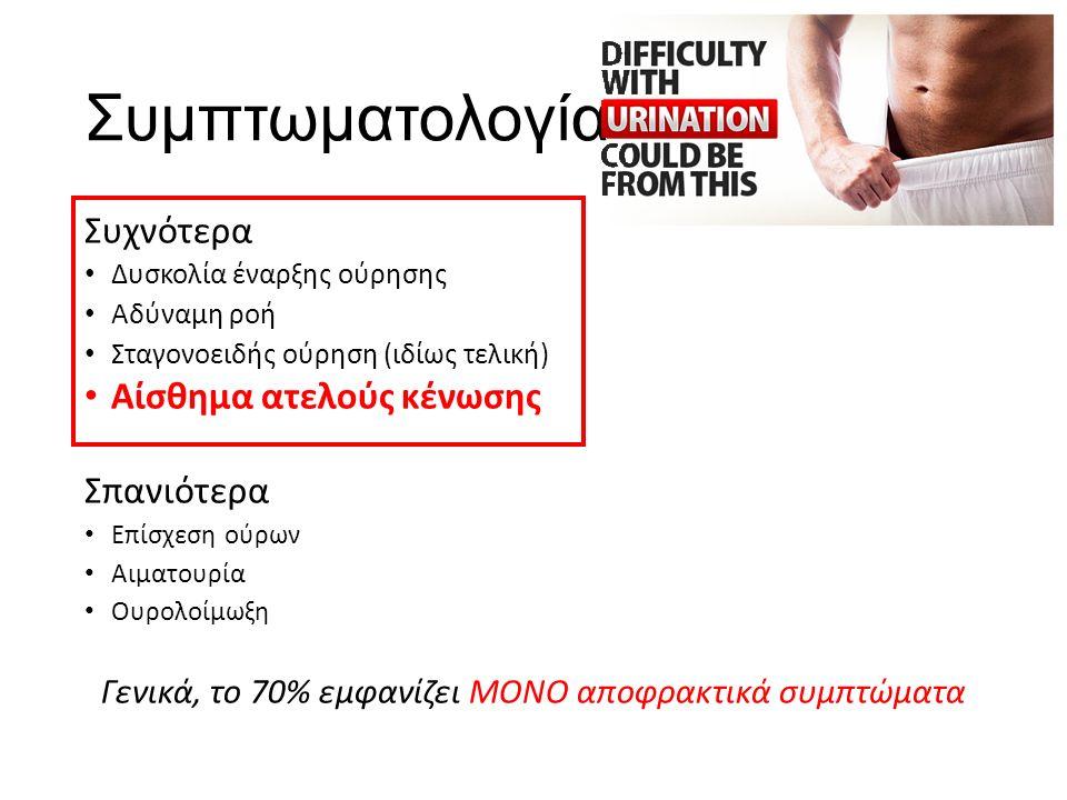 Συμπτωματολογία Συχνότερα Δυσκολία έναρξης ούρησης Αδύναμη ροή Σταγονοειδής ούρηση (ιδίως τελική) Αίσθημα ατελούς κένωσης Σπανιότερα Επίσχεση ούρων Αιματουρία Ουρολοίμωξη Γενικά, το 70% εμφανίζει ΜΟΝΟ αποφρακτικά συμπτώματα