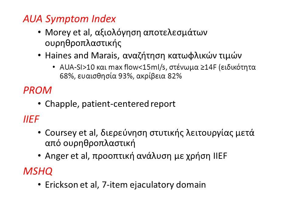 AUA Symptom Index Morey et al, αξιολόγηση αποτελεσμάτων ουρηθροπλαστικής Haines and Marais, αναζήτηση κατωφλικών τιμών AUA-SI>10 και max flow<15ml/s, στένωμα ≥14F (ειδικότητα 68%, ευαισθησία 93%, ακρίβεια 82% PROM Chapple, patient-centered report IIEF Coursey et al, διερεύνηση στυτικής λειτουργίας μετά από ουρηθροπλαστική Anger et al, προοπτική ανάλυση με χρήση IIEF MSHQ Erickson et al, 7-item ejaculatory domain