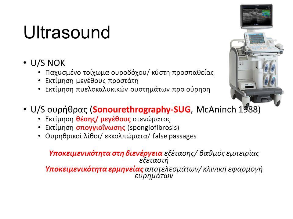 Ultrasound U/S ΝΟΚ Παχυσμένο τοίχωμα ουροδόχου/ κύστη προσπαθείας Εκτίμηση μεγέθους προστάτη Εκτίμηση πυελοκαλυκικών συστημάτων προ ούρηση U/S ουρήθρας (Sonourethrography-SUG, McAninch 1988) Εκτίμηση θέσης/ μεγέθους στενώματος Εκτίμηση σπογγιοΐνωσης (spongiofibrosis) Ουρηθρικοί λίθοι/ εκκολπώματα/ false passages Υποκειμενικότητα στη διενέργεια εξέτασης/ βαθμός εμπειρίας εξεταστή Υποκειμενικότητα ερμηνείας αποτελεσμάτων/ κλινική εφαρμογή ευρημάτων