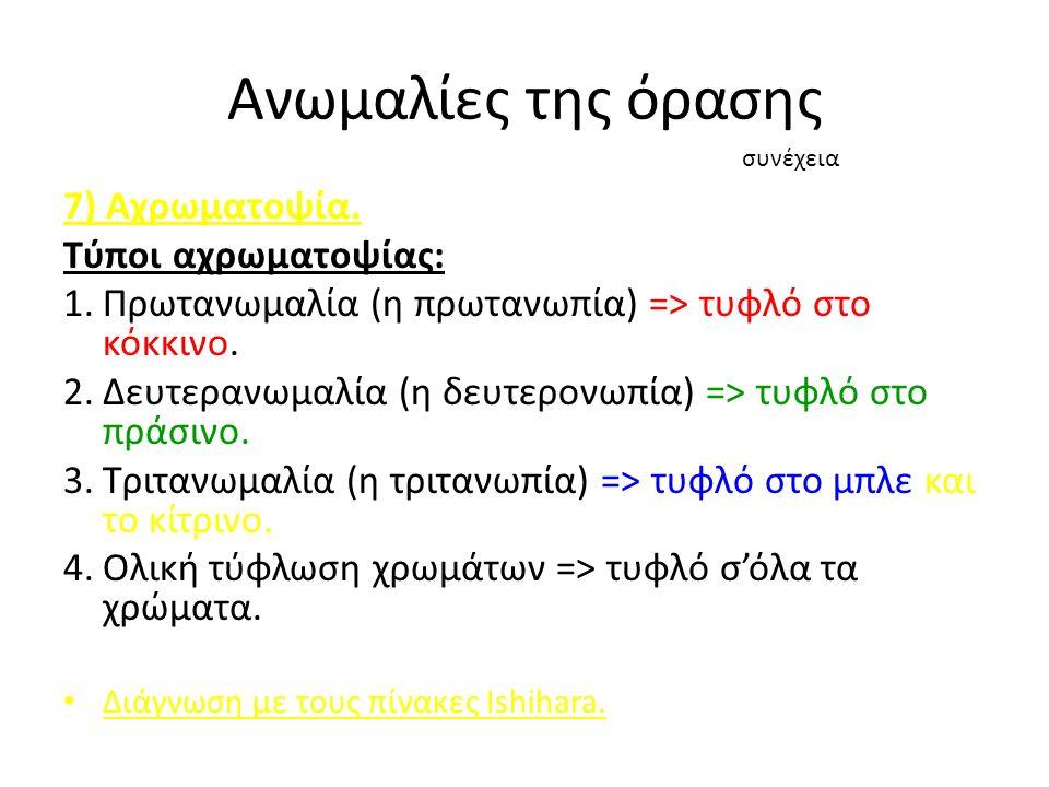 Ανωμαλίες της όρασης 7) Αχρωματοψία.