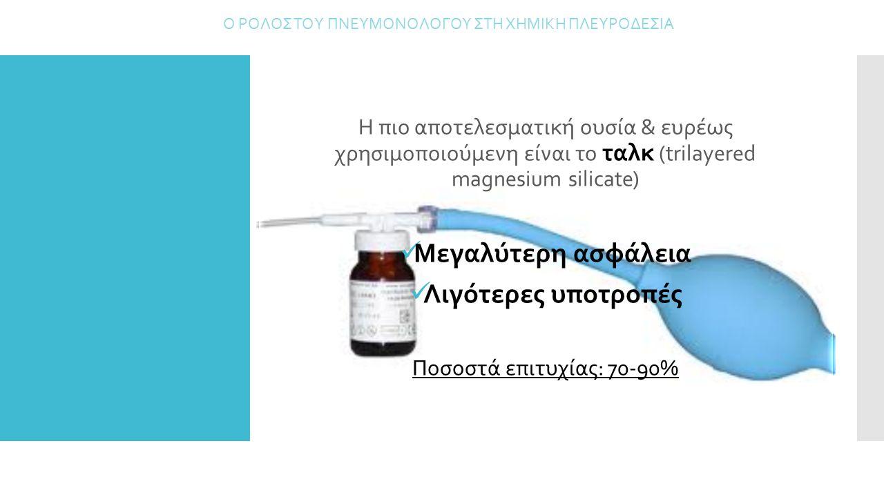 Η πιο αποτελεσματική ουσία & ευρέως χρησιμοποιούμενη είναι το ταλκ (trilayered magnesium silicate) Μεγαλύτερη ασφάλεια Λιγότερες υποτροπές Ποσοστά επι