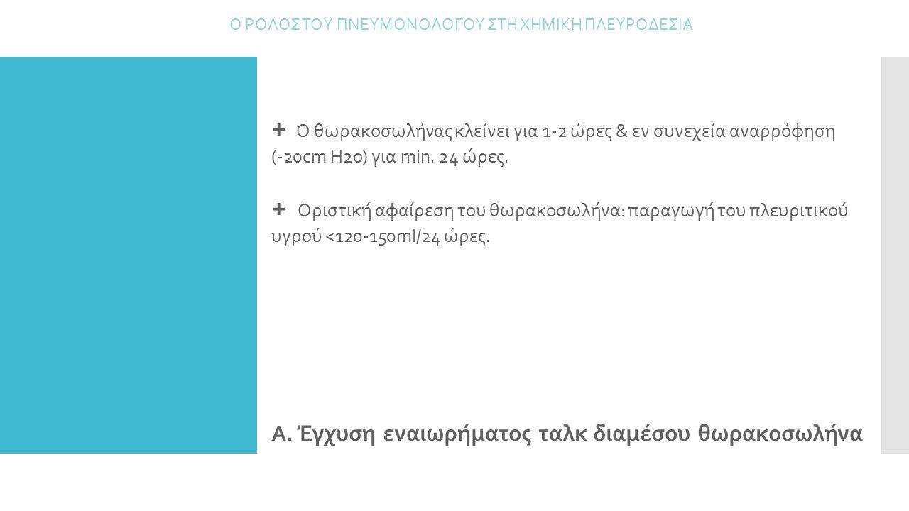 Α. Έγχυση εναιωρήματος ταλκ διαμέσου θωρακοσωλήνα Ο ΡΟΛΟΣ ΤΟΥ ΠΝΕΥΜΟΝΟΛΟΓΟΥ ΣΤΗ ΧΗΜΙΚΗ ΠΛΕΥΡΟΔΕΣΙΑ + Ο θωρακοσωλήνας κλείνει για 1-2 ώρες & εν συνεχεί