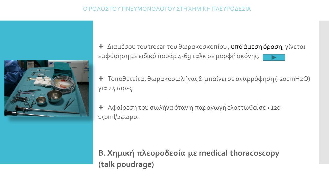 Β. Χημική πλευροδεσία με medical thoracoscopy (talk poudrage) Ο ΡΟΛΟΣ ΤΟΥ ΠΝΕΥΜΟΝΟΛΟΓΟΥ ΣΤΗ ΧΗΜΙΚΗ ΠΛΕΥΡΟΔΕΣΙΑ + Διαμέσου του trocar του θωρακοσκοπίου