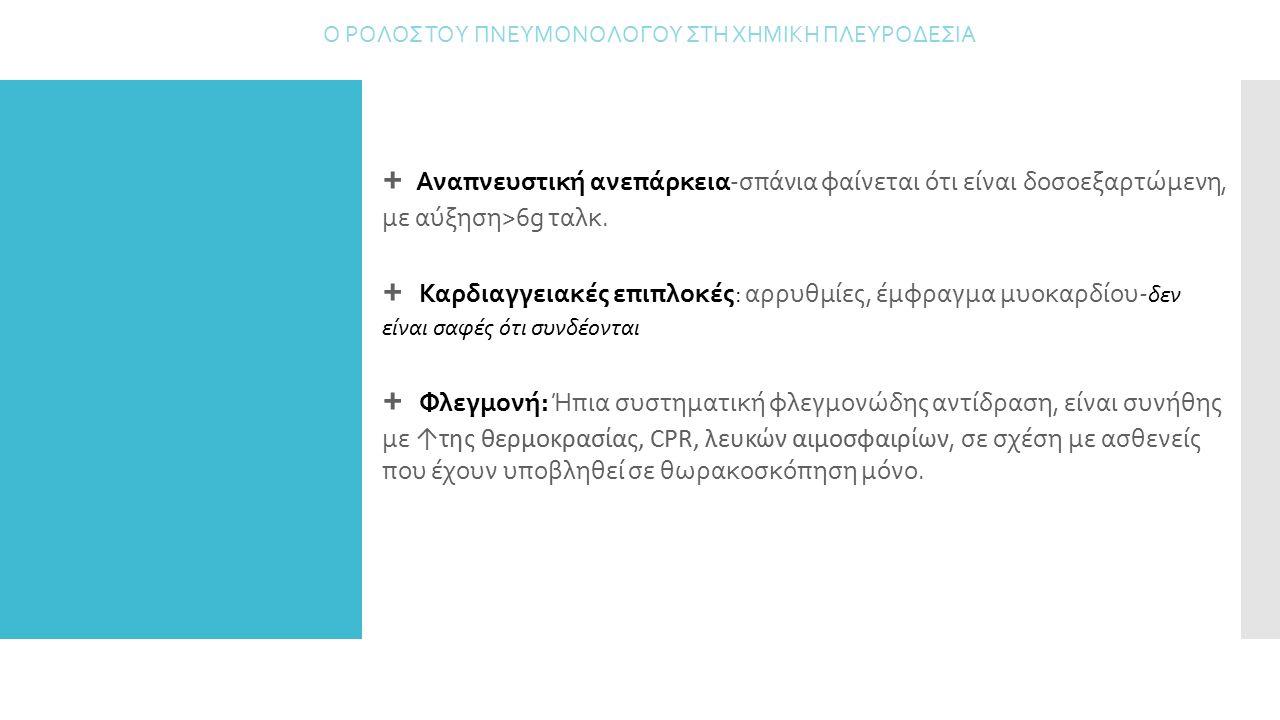 + Αναπνευστική ανεπάρκεια-σπάνια φαίνεται ότι είναι δοσοεξαρτώμενη, με αύξηση>6g ταλκ. + Καρδιαγγειακές επιπλοκές: αρρυθμίες, έμφραγμα μυοκαρδίου- δεν