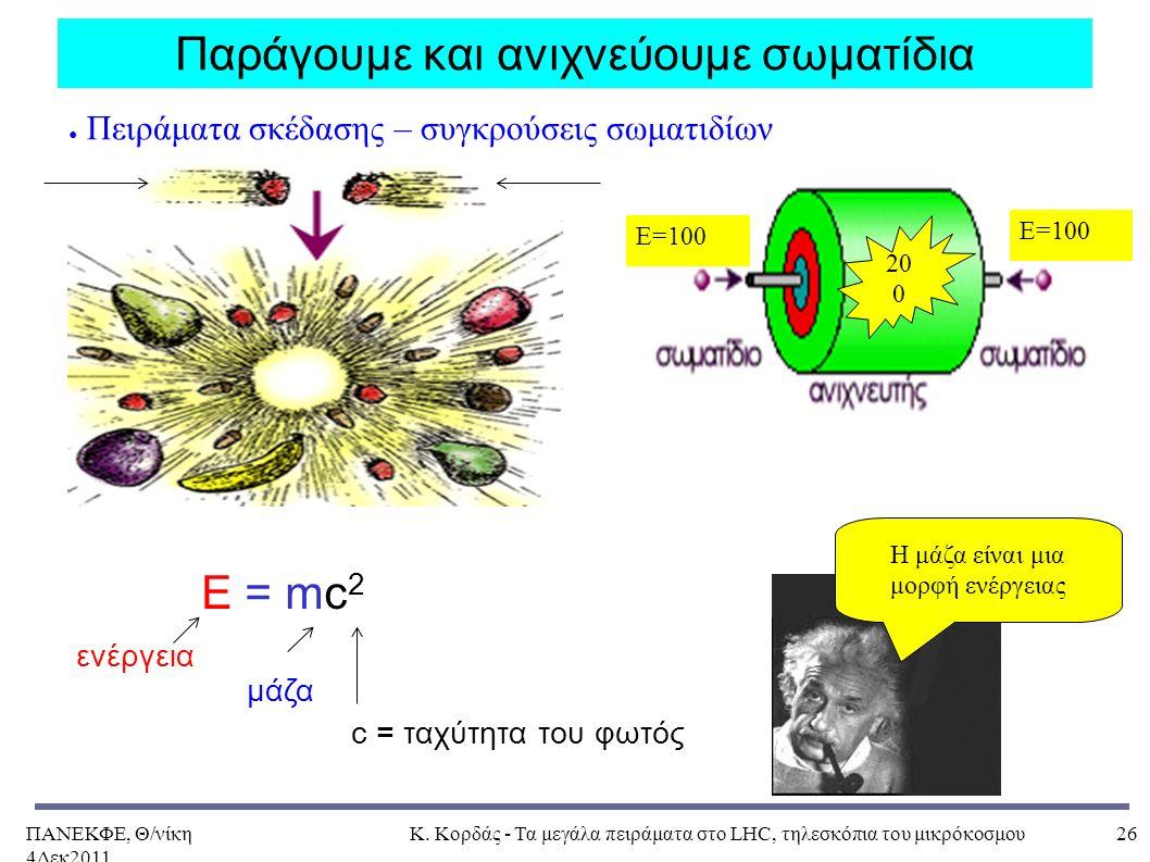 ΠΑΝΕΚΦΕ, Θ/νίκη 4Δεκ2011, Κ. Κορδάς - Τα μεγάλα πειράματα στο LHC, τηλεσκόπια του μικρόκοσμου26 E=100 Παράγουμε και ανιχνεύουμε σωματίδια ενέργεια μάζ
