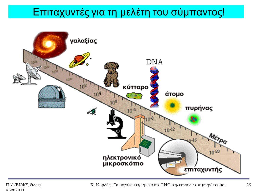 ΠΑΝΕΚΦΕ, Θ/νίκη 4Δεκ2011, Κ. Κορδάς - Τα μεγάλα πειράματα στο LHC, τηλεσκόπια του μικρόκοσμου29 Επιταχυντές για τη μελέτη του σύμπαντος!