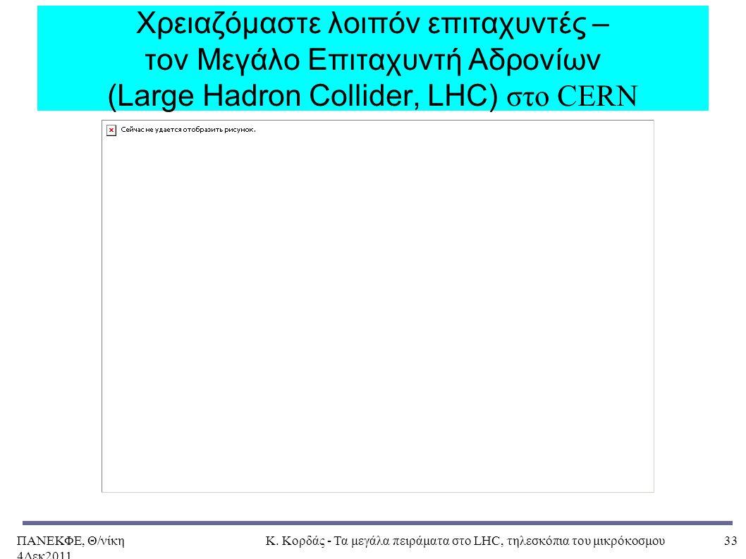 ΠΑΝΕΚΦΕ, Θ/νίκη 4Δεκ2011, Κ. Κορδάς - Τα μεγάλα πειράματα στο LHC, τηλεσκόπια του μικρόκοσμου33 Χρειαζόμαστε λοιπόν επιταχυντές – τον Μεγάλο Επιταχυντ