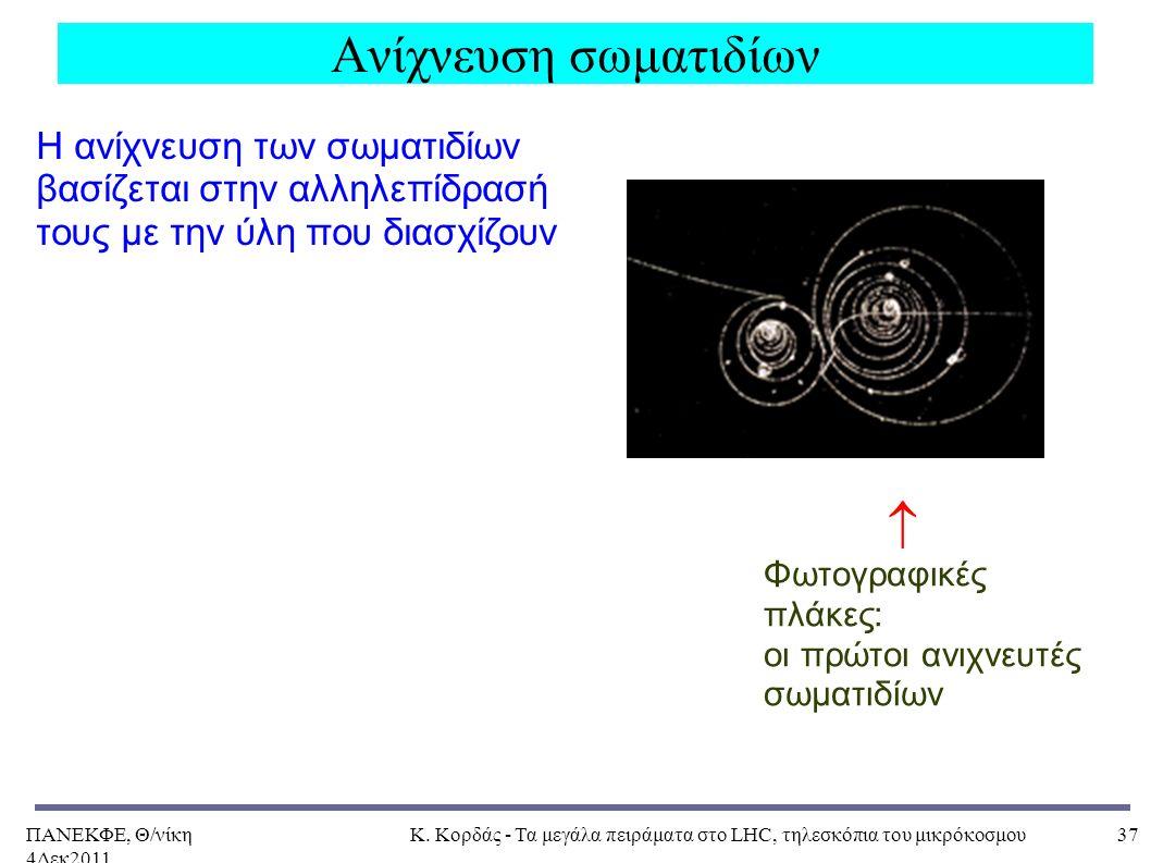 ΠΑΝΕΚΦΕ, Θ/νίκη 4Δεκ2011, Κ. Κορδάς - Τα μεγάλα πειράματα στο LHC, τηλεσκόπια του μικρόκοσμου37 Ανίχνευση σωματιδίων Η ανίχνευση των σωματιδίων βασίζε