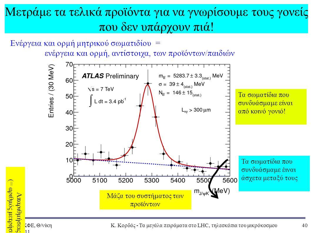 ΠΑΝΕΚΦΕ, Θ/νίκη 4Δεκ2011, Κ. Κορδάς - Τα μεγάλα πειράματα στο LHC, τηλεσκόπια του μικρόκοσμου40 Μετράμε τα τελικά προϊόντα για να γνωρίσουμε τους γονε
