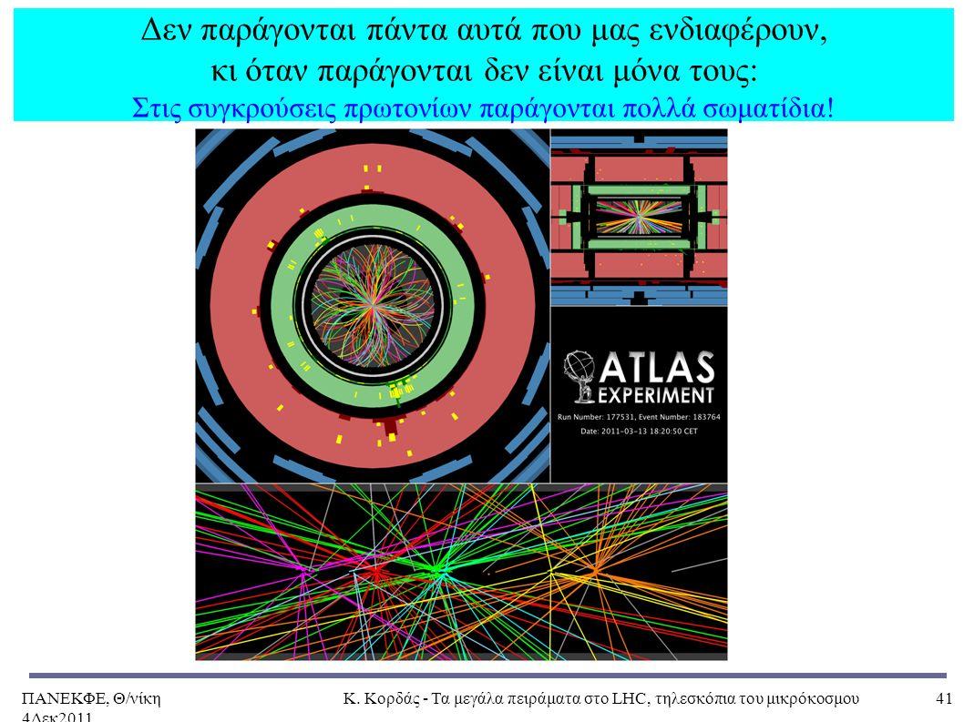 ΠΑΝΕΚΦΕ, Θ/νίκη 4Δεκ2011, Κ. Κορδάς - Τα μεγάλα πειράματα στο LHC, τηλεσκόπια του μικρόκοσμου41 Δεν παράγονται πάντα αυτά που μας ενδιαφέρουν, κι όταν
