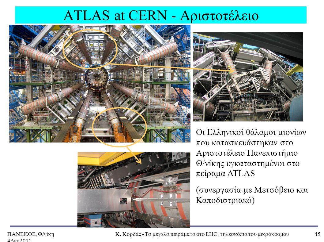 ΠΑΝΕΚΦΕ, Θ/νίκη 4Δεκ2011, Κ. Κορδάς - Τα μεγάλα πειράματα στο LHC, τηλεσκόπια του μικρόκοσμου45 ATLAS at CERN - Αριστοτέλειο Οι Eλληνικοί θάλαμοι μιον