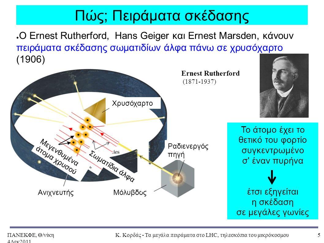 ΠΑΝΕΚΦΕ, Θ/νίκη 4Δεκ2011, Κ. Κορδάς - Τα μεγάλα πειράματα στο LHC, τηλεσκόπια του μικρόκοσμου5 Πώς; Πειράματα σκέδασης ● Ο Ernest Rutherford, Hans Gei