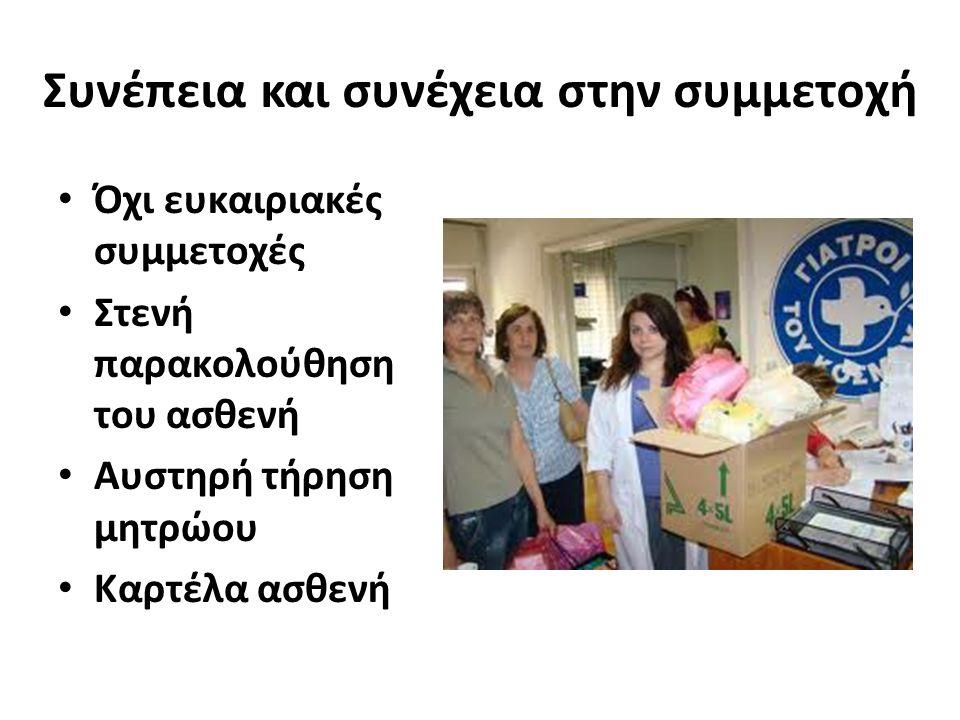 Συνέπεια και συνέχεια στην συμμετοχή Όχι ευκαιριακές συμμετοχές Στενή παρακολούθηση του ασθενή Αυστηρή τήρηση μητρώου Καρτέλα ασθενή