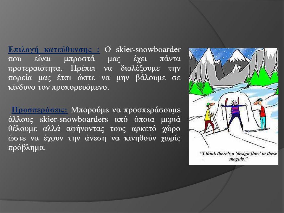 Επιλογή κατεύθυνσης : Ο skier-snowboarder που είναι μπροστά μας έχει πάντα προτεραιότητα.