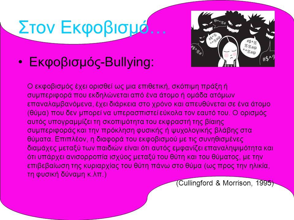Στον Εκφοβισμό… Εκφοβισμός-Bullying: Ο εκφοβισμός έχει ορισθεί ως μια επιθετική, σκόπιμη πράξη ή συμπεριφορά που εκδηλώνεται από ένα άτομο ή ομάδα ατόμων επαναλαμβανόμενα, έχει διάρκεια στο χρόνο και απευθύνεται σε ένα άτομο (θύμα) που δεν μπορεί να υπερασπιστεί εύκολα τον εαυτό του.