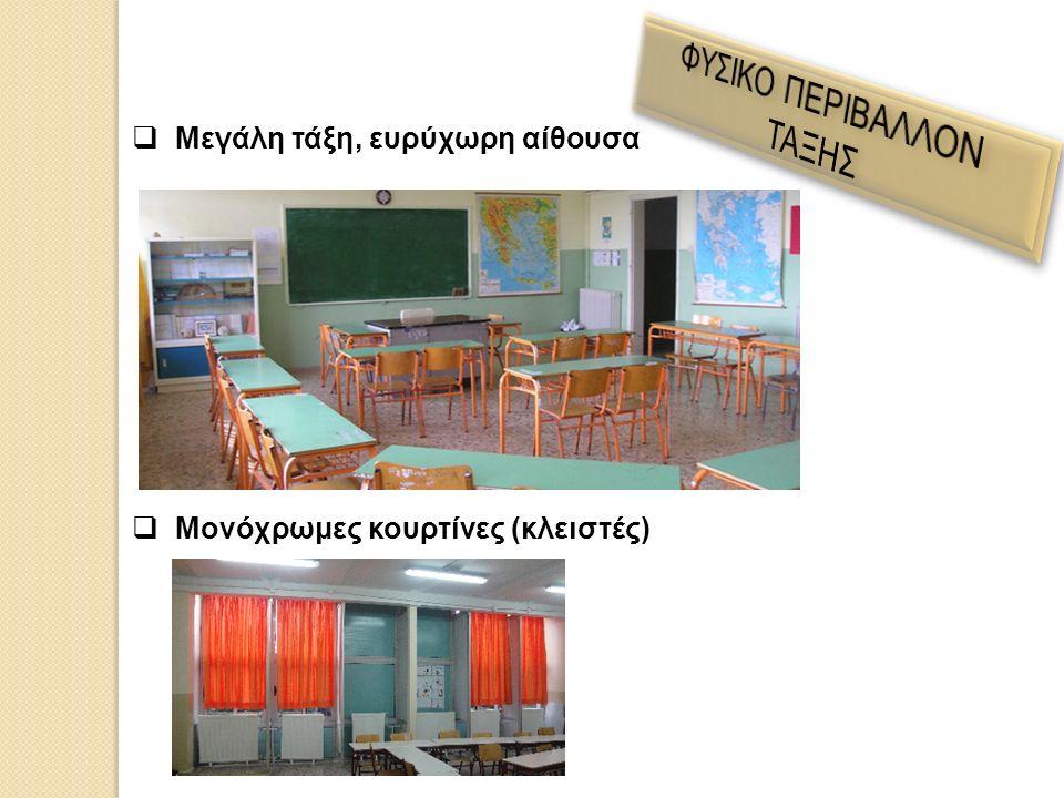  Μεγάλη τάξη, ευρύχωρη αίθουσα  Μονόχρωμες κουρτίνες (κλειστές)