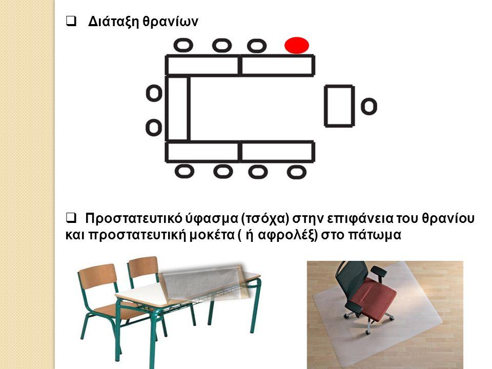  Διάταξη θρανίων  Προστατευτικό ύφασμα (τσόχα) στην επιφάνεια του θρανίου και προστατευτική μοκέτα ( ή αφρολέξ) στο πάτωμα