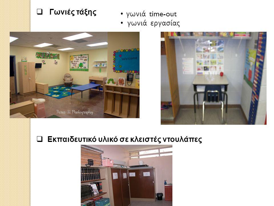  Γωνιές τάξης  Εκπαιδευτικό υλικό σε κλειστές ντουλάπες γωνιά time-out γωνιά εργασίας