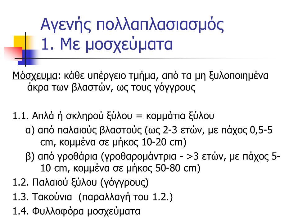 Μόσχευμα: κάθε υπέργειο τμήμα, από τα μη ξυλοποιημένα άκρα των βλαστών, ως τους γόγγρους 1.1. Απλά ή σκληρού ξύλου = κομμάτια ξύλου α) από παλαιούς βλ