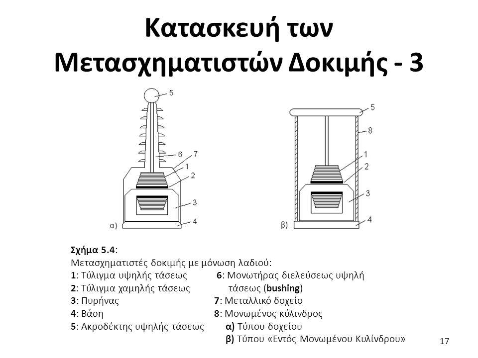 Κατασκευή των Μετασχηματιστών Δοκιμής - 3 17 Σχήμα 5.4: Μετασχηματιστές δοκιμής με μόνωση λαδιού: 1: Τύλιγμα υψηλής τάσεως 6: Μονωτήρας διελεύσεως υψηλή 2: Τύλιγμα χαμηλής τάσεως τάσεως (bushing) 3: Πυρήνας7: Μεταλλικό δοχείο 4: Βάση8: Μονωμένος κύλινδρος 5: Ακροδέκτης υψηλής τάσεως α) Τύπου δοχείου β) Τύπου «Εντός Μονωμένου Κυλίνδρου»
