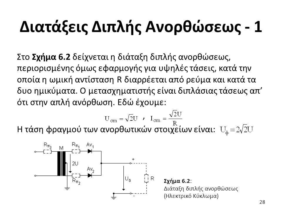 Διατάξεις Διπλής Ανορθώσεως - 1 Στο Σχήμα 6.2 δείχνεται η διάταξη διπλής ανορθώσεως, περιορισμένης όμως εφαρμογής για υψηλές τάσεις, κατά την οποία η ωμική αντίσταση R διαρρέεται από ρεύμα και κατά τα δυο ημικύματα.