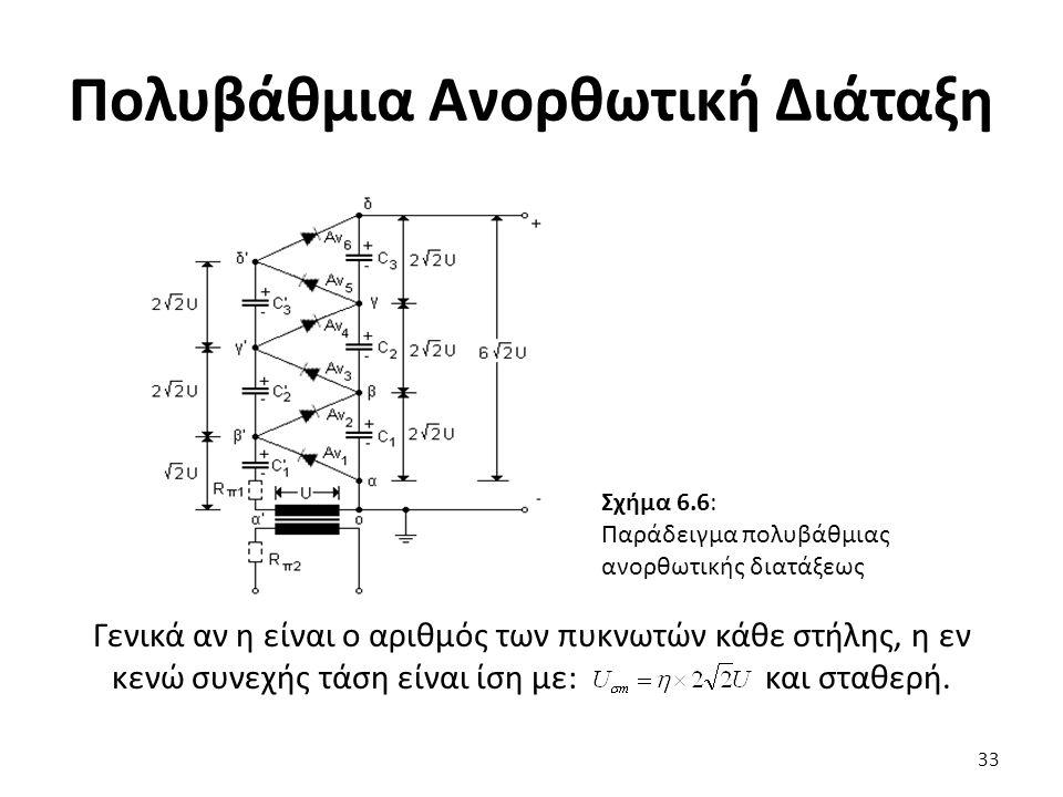 Πολυβάθμια Ανορθωτική Διάταξη Γενικά αν η είναι ο αριθμός των πυκνωτών κάθε στήλης, η εν κενώ συνεχής τάση είναι ίση με: και σταθερή.