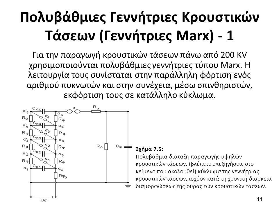 Πολυβάθμιες Γεννήτριες Κρουστικών Τάσεων (Γεννήτριες Marx) - 1 Για την παραγωγή κρουστικών τάσεων πάνω από 200 KV χρησιμοποιούνται πολυβάθμιες γεννήτριες τύπου Marx.